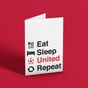 Eat, Sleep, United, Repeat Greetings Card T-Shirt