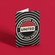 """Northern Soul """"Keep The Faith"""" (Red, White and Black) Greetings Card T-Shirt"""