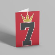 Number Seven Crown Greetings Card