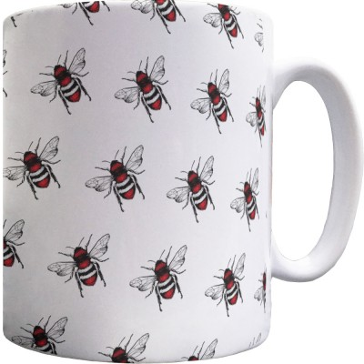Red, White and Black Bee Pattern Mug