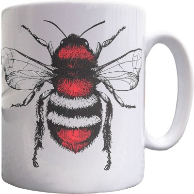 Red, White and Black Bee Ceramic Mug