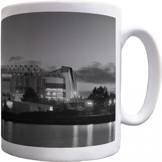 Old Trafford At Night (Black and White) Ceramic Mug