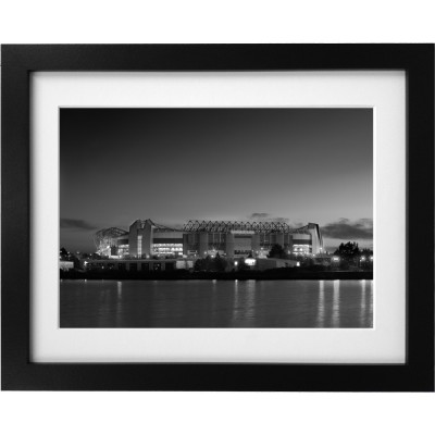 Old Trafford At Night (Black and White) Art Print