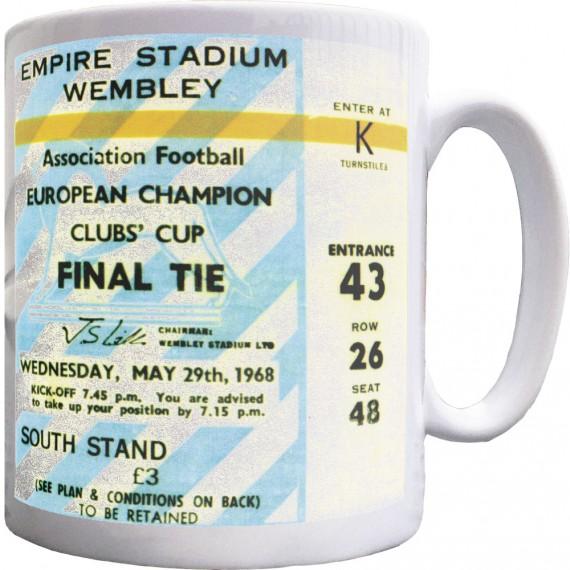 Wembley 1968 European Cup Final Ticket Ceramic Mug